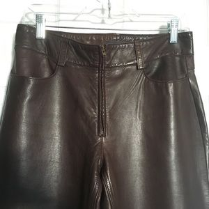 100% Genuine Leather Brown Pants